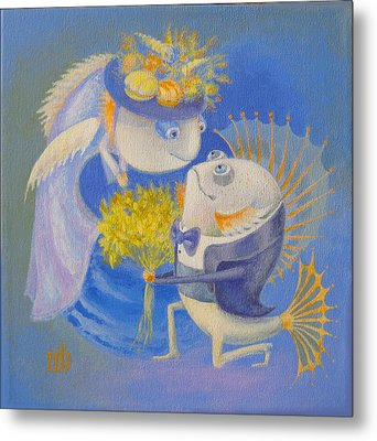 Metal Print featuring the painting Proposal by Marina Gnetetsky