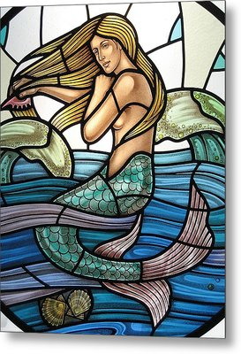 Metal Print featuring the glass art Protection Island Mermaid by Gilroy Stained Glass