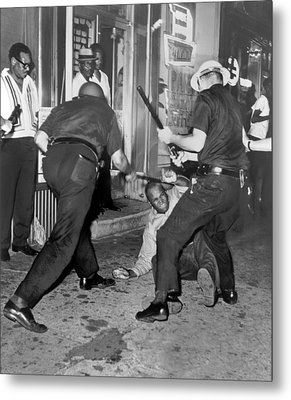 Protester Clubbed In Harlem Metal Print