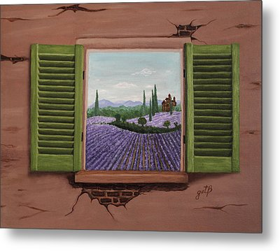 Metal Print featuring the painting Provence Lavander Fields Original Acrylic by Georgeta Blanaru