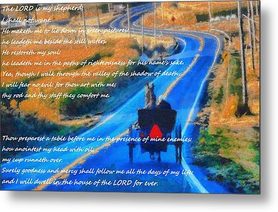 Psalm 23 Country Roads Metal Print