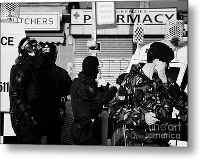 Psni Riot Officers And British Soldier On Crumlin Road At Ardoyne Shops Belfast 12th July Metal Print by Joe Fox