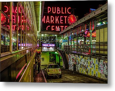 Psychadelic Midnight Colors At Pike Place Market Metal Print by Brian Xavier