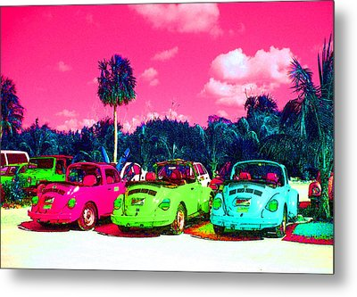 Psychedelic Cars Metal Print by Mike Podhorzer