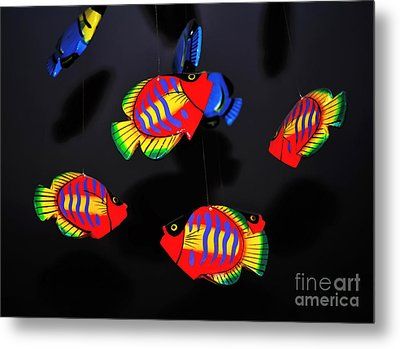 Psychedelic Flying Fish Metal Print by Kaye Menner