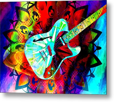 Psychedelic Guitar Metal Print by Ally  White