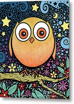 Psychedelic Owl Metal Print by Beth Snow