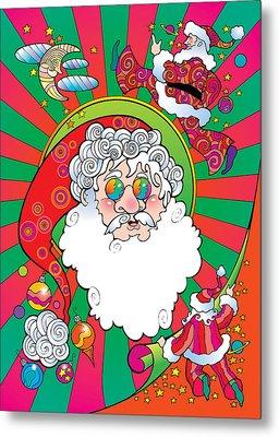 Psychedelic Santa Face Metal Print
