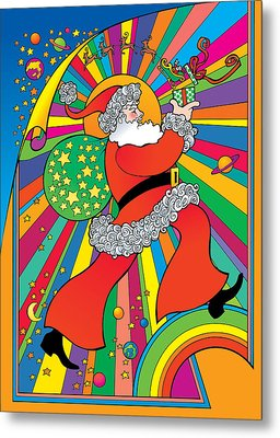 Psychedelic Santa Metal Print