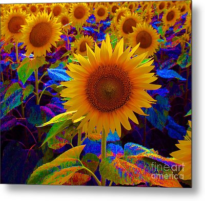 Psychedelic Sunflowers Metal Print