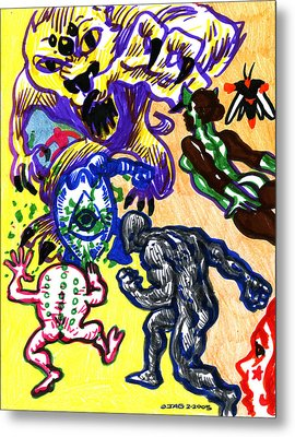 Metal Print featuring the drawing Psychedelic Super Battle by John Ashton Golden