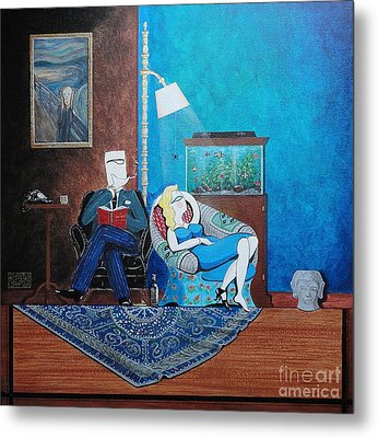 Psychiatrist Sitting In Chair Studying Spider's Reaction Metal Print by John Lyes