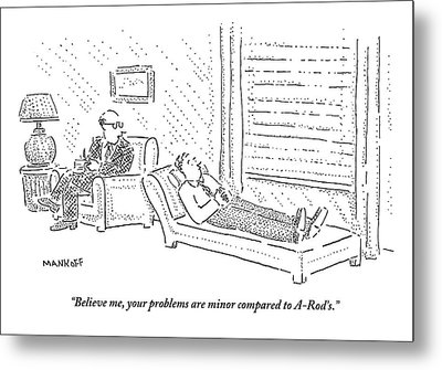Psychiatrist To Patient On Couch Metal Print