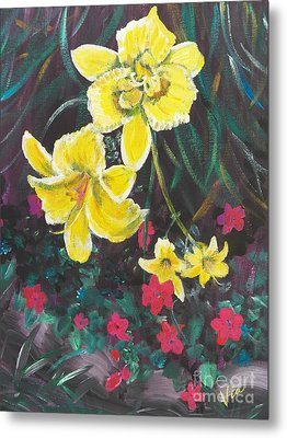 Ptg. Day Lillies And Impatients Metal Print by Judy Via-Wolff