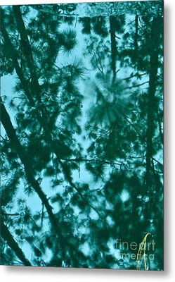 Puddle Of Pines Metal Print