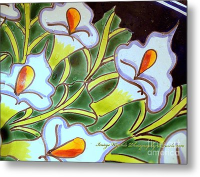 Calla Lillies Splashed Metal Print by ARTography by Pamela Smale Williams