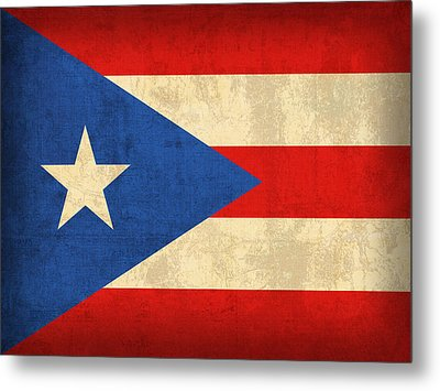 Puerto Rico Flag Vintage Distressed Finish Metal Print by Design Turnpike