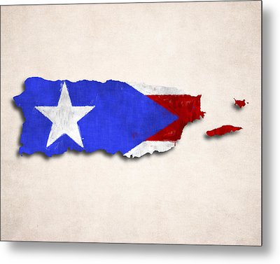 Puerto Rico Map Art With Flag Design Metal Print