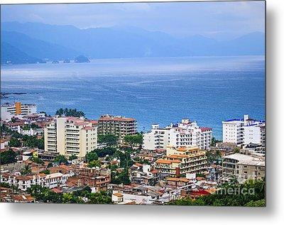 Puerto Vallarta And Blue Ocean Metal Print