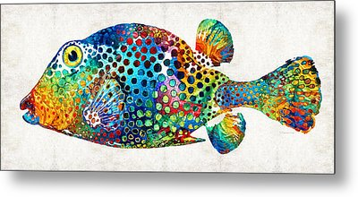Puffer Fish Art - Puff Love - By Sharon Cummings Metal Print by Sharon Cummings