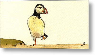 Puffin Bird Metal Print by Juan  Bosco
