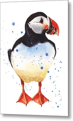 Puffin Watercolor Metal Print by Alison Fennell