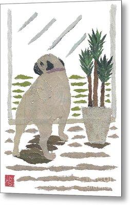Pug Art Hand-torn Newspaper Collage Art Metal Print by Keiko Suzuki Bless Hue