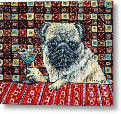 Pug At The Martini Bar Metal Print by Jay  Schmetz