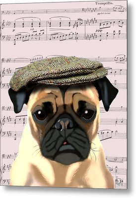 Pug In A Flat Cap Metal Print by Kelly McLaughlan