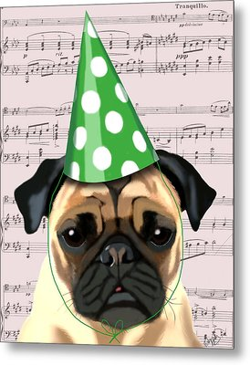 Pug In A Party Hat Metal Print by Kelly McLaughlan