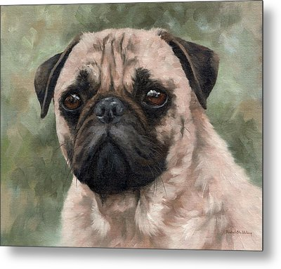 Pug Portrait Painting Metal Print