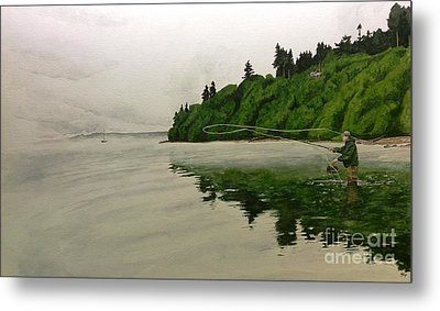 Puget Sound On The Fly Metal Print by Jason Bordash