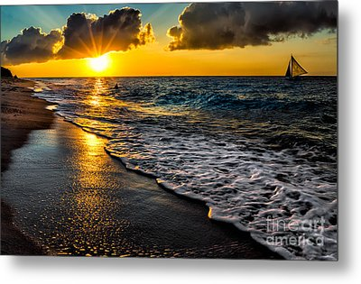 Puka Beach Sunset Metal Print