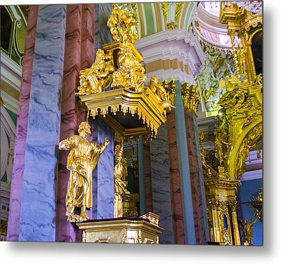 Pulpit - Cathedral Of Saints Peter And Paul - St Petersburg - Russia Metal Print by Jon Berghoff