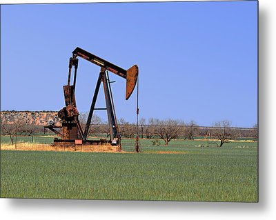 Pump Jack A Texas Icon Metal Print by Christine Till