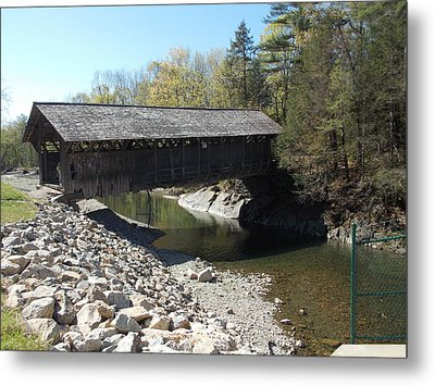 Pumping Station Covered Bridge Metal Print by Catherine Gagne