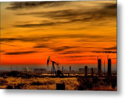 Pumpjack In Motion Metal Print