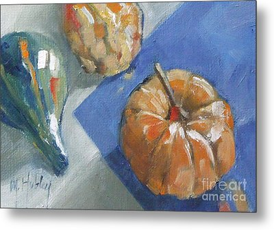 Pumpkin And Gourds Still Life Metal Print by Mary Hubley