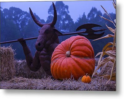 Pumpkin And Minotaur Metal Print