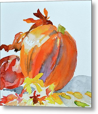 Metal Print featuring the painting Pumpkin And Pomegranate by Beverley Harper Tinsley
