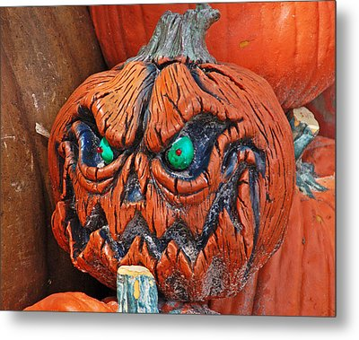 Pumpkin Face Metal Print by Aimee L Maher Photography and Art Visit ALMGallerydotcom