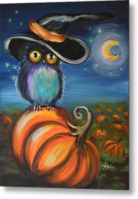 Metal Print featuring the painting Owl Bewitch You by Agata Lindquist