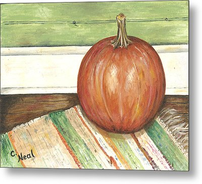 Pumpkin On A Rag Rug Metal Print