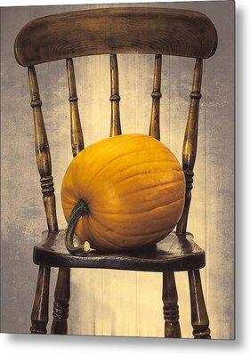 Pumpkin On Chair Metal Print by Amanda Elwell