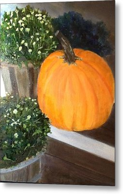 Metal Print featuring the painting Pumpkin On Doorstep by Cindy Plutnicki