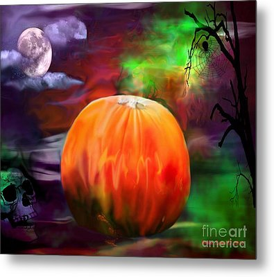 Pumpkin Skull Spider And Moon Halloween Art Metal Print