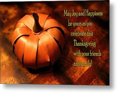 Pumpkin Thanksgiving Card Metal Print