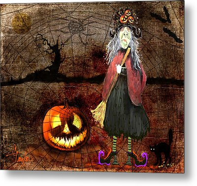 Pumpkinella The Magical Good Witch And Her Magical Cat Metal Print by Colleen Taylor