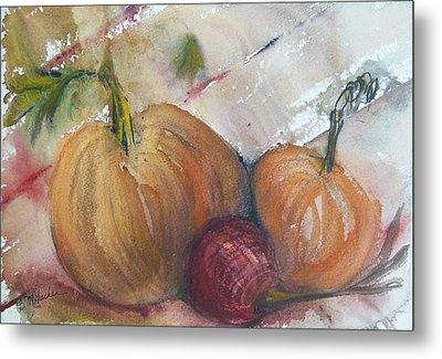 Pumpkins And Onion Metal Print