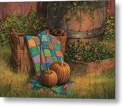 Pumpkins And Patches Metal Print